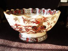 LARGE ANTIQUE COPELAND FOOTED BOWL BOLD ORIENTAL URN PEACH LUSTRE RIM 2147